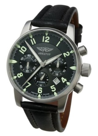 Aviator Russian Poljot Black Chrono